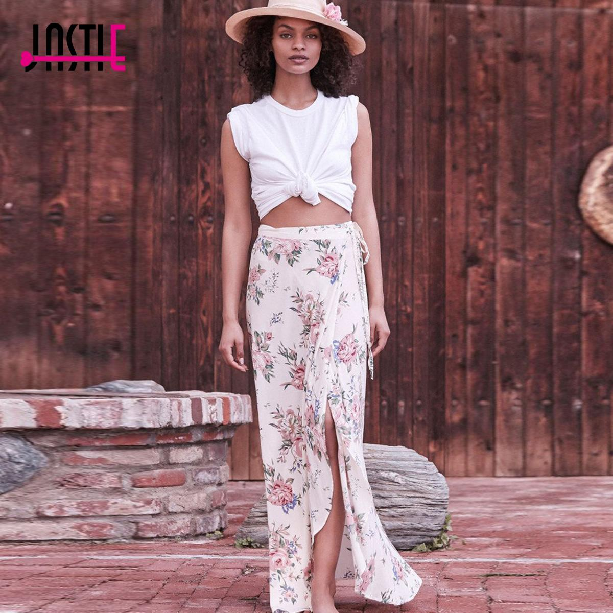d1de1852a0 2019 Jastie Wild Rose Maxi Wrap Skirt Vintage Bloom Print Natural Casual  Beach Skirts Saia High Waist Tie Split Skirt Female Faldas From Movearound,  ...
