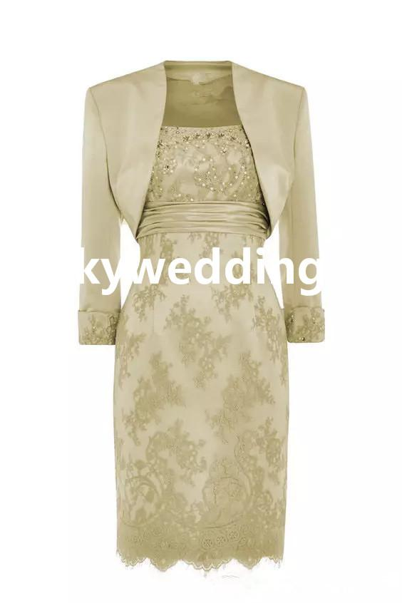 Elegant Lace Mother Of The Bride Dresses Knee Length Scoop Sequins Beaded Stain Sheath Mother Formal Dresses With Jacket Women Formal Gowns