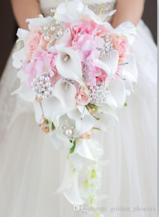 2018 high-end custom white calla lily pink rose hydrangea DIY pearl crystal brooch drops bridal bouquet