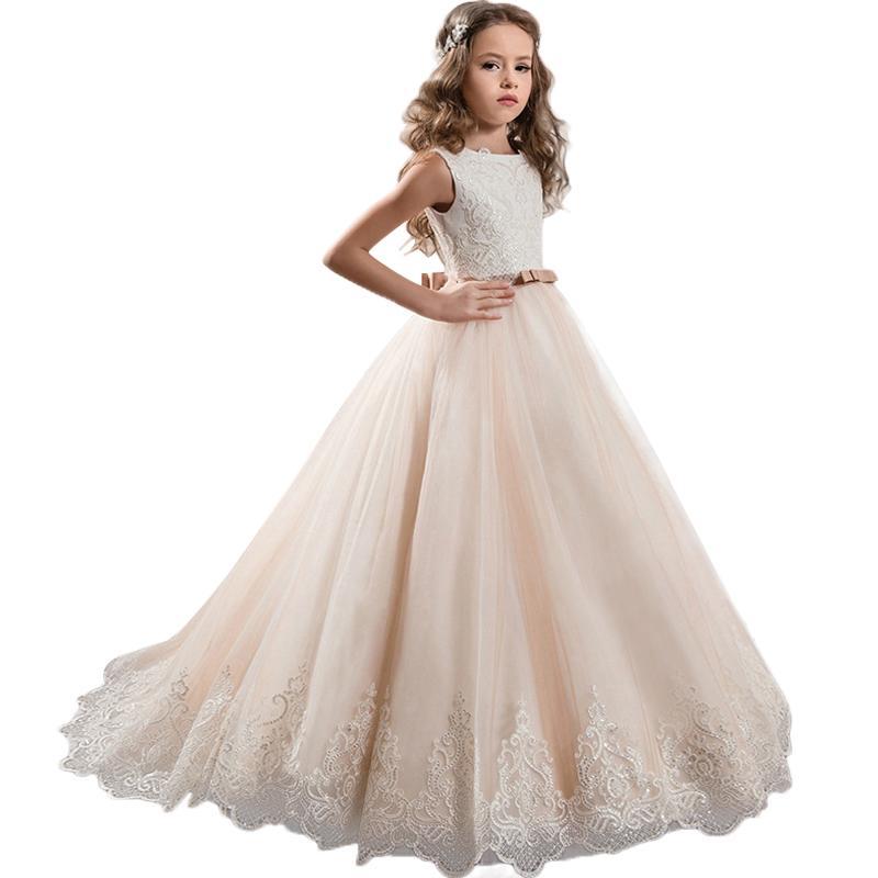5ddda3b17 High-end gorgeous elegant children's wedding dress Girls High Quality  Sequin Princess Flower Girl Dress Host sweet bow