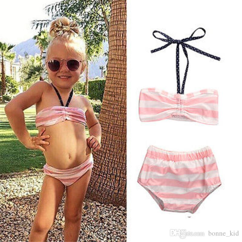 2018 Cute Bowknot Striped Pink Swimsuit Summer Children Split Swimsuit Girls Bikini Lovely Swimming Costume Children Kids Swimwear Girls From Bonne_kid