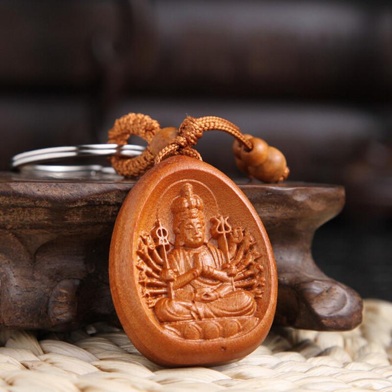 Yanting smiling buddha abcaus sword car keychains wood key ring christmas gifts for men keychain lucky fob new year gifts 020