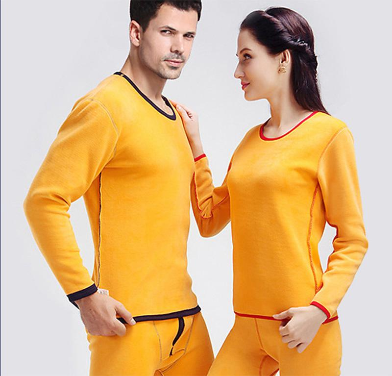 2018 new double layers of warm underwear, cashmere and thickening suit, pure color round collar, medium waist, slim underwear lovers suit