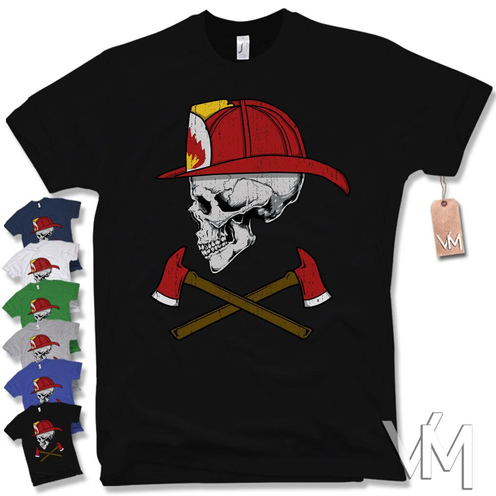 Fire Department Skull T Shirt Fire Fighter Volunteer Skull Size