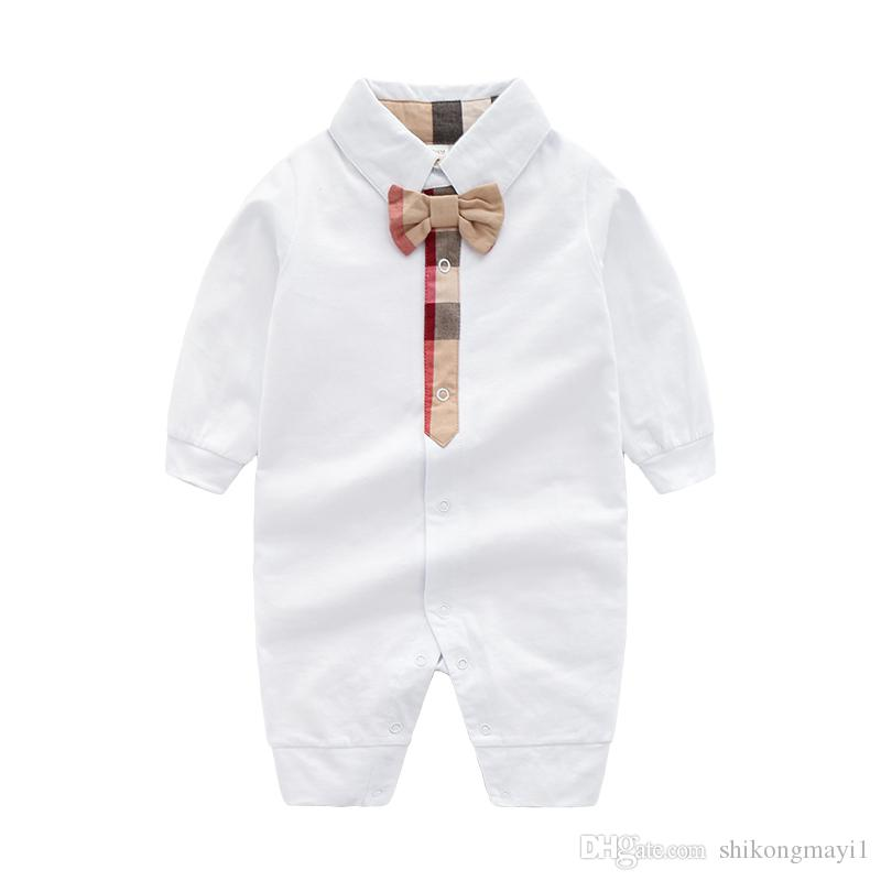2cfccd90af3d 2019 Kids Cotton Baby Cloth Solid Color Baby Romper Spring Autumn Long  Sleeve Baby Boy Girl Romper Infant Warm Jumpsuit From Shikongmayi1