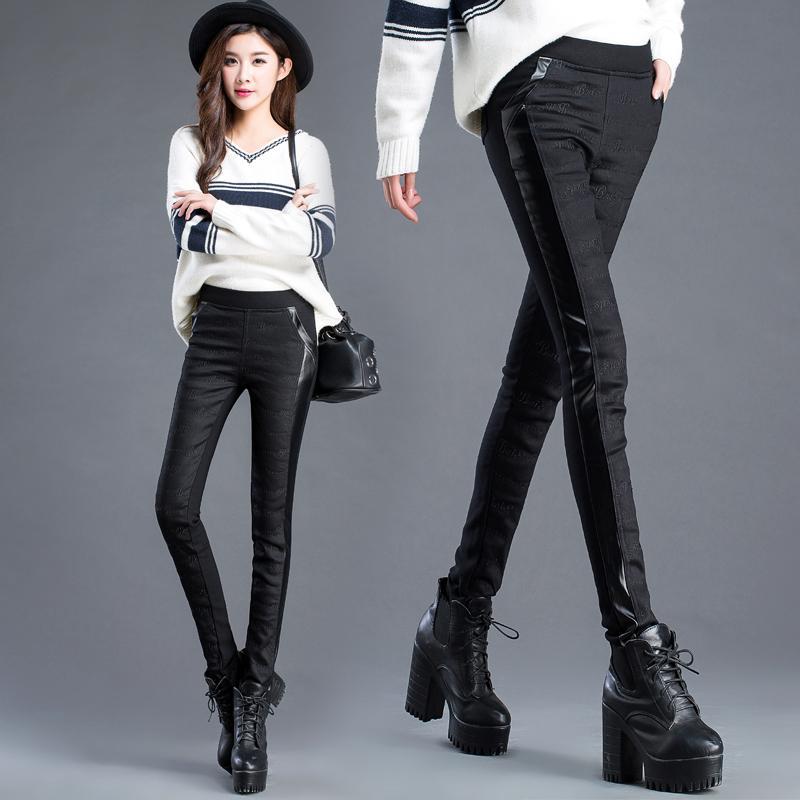 Pantalones gruesos de invierno cálido mujeres patchwork bordado pantalones de cuero estiramiento lápiz lápiz pantalones pantalones tallas grandes pantalones mujer