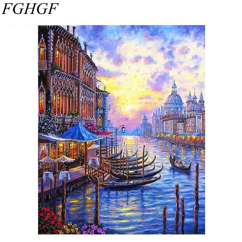 Fghgf Europa Venedig Nacht Diy Malen Nach Zahlen Abstrakte ölgemälde Auf Leinwand Acryl Malen Nach Zahlen Für Wohnkultur