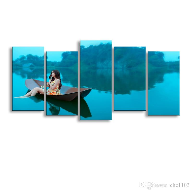 5 pieces of high-definition print woman on the island canvas prints painting poster and wall art living room picture HaiD-001