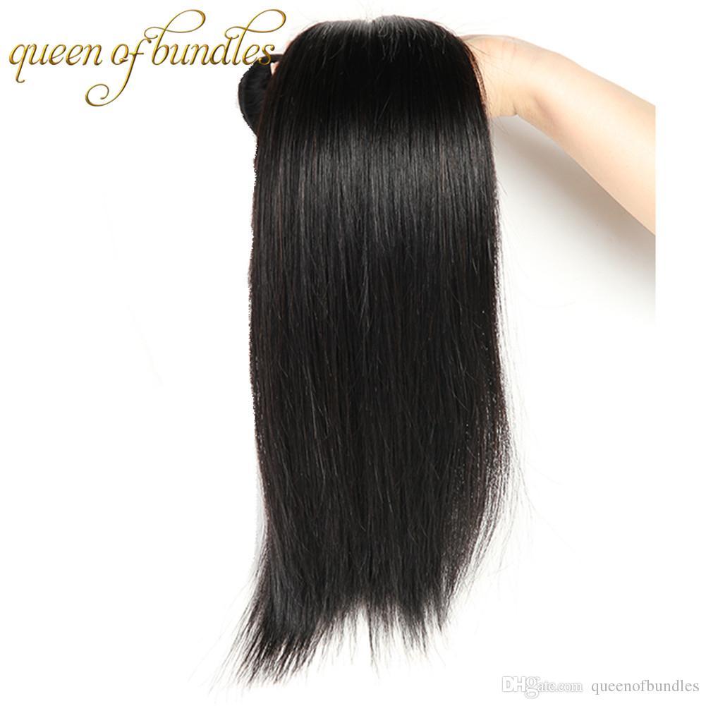 Brasilianisches gerades Jungfrau-Menschenhaar 3 / peruanisches malaysisches indisches gerades Haar spinnt unverarbeitete billige Haar-Verlängerungen gerade