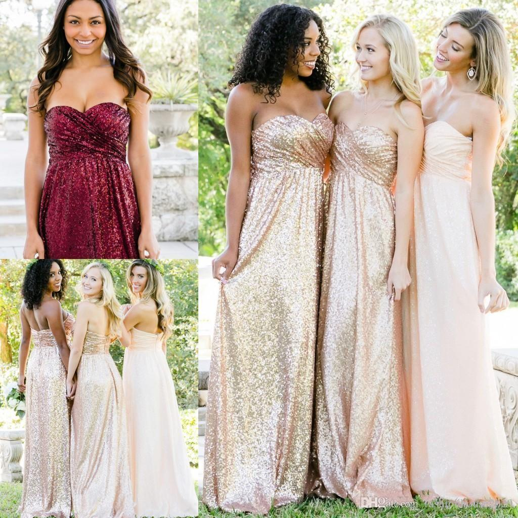 2019 Rose Gold Burgundy Sequins Bridesmaid Dresses For Weddings Guest Dress  Sweetheart Long Sequined Plus Size Formal Maid Of Honor Gowns Bridesmaid  Dresses ... cc2b7aeb1213