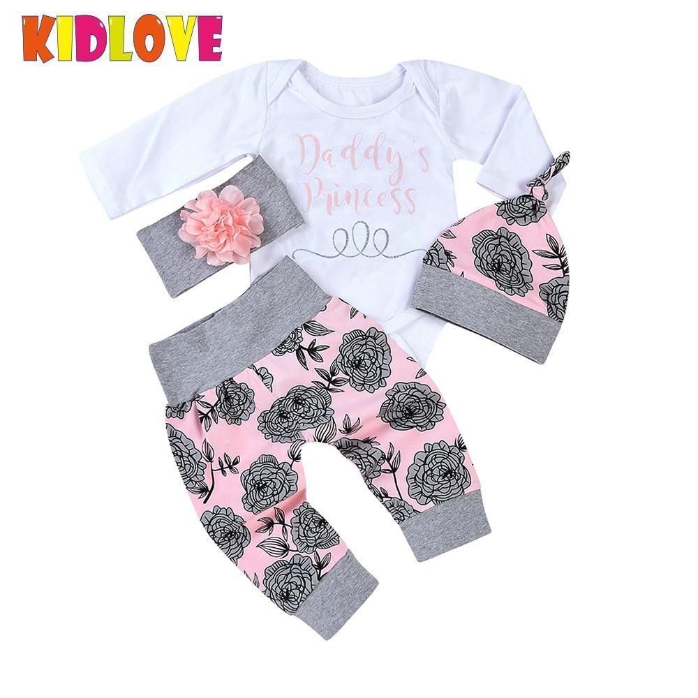 d24cb033e5cb7 Acheter ENFANT Nouveau Né Bébé Filles Papa Princesse Lettre Imprimé Fleur  Pyjamas Ensemble Top Romper Long Pantalon Chapeau Bandeau Vêtements ZK30  Y18102208 ...