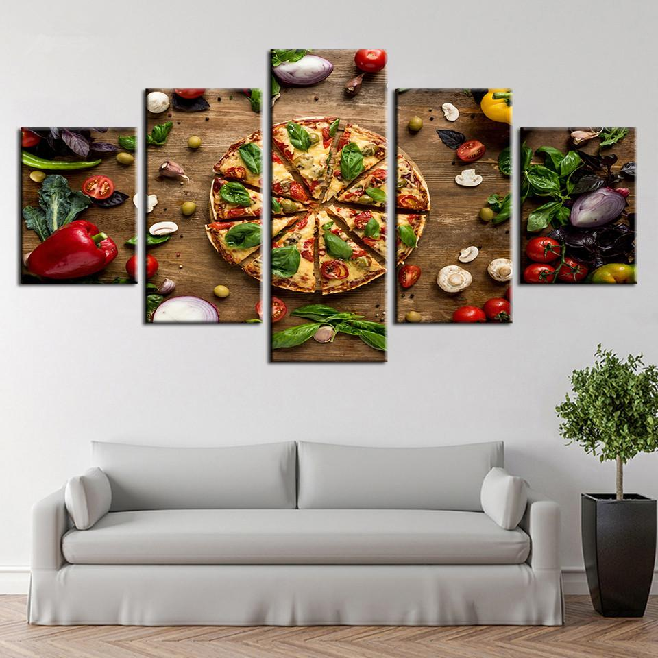 Spray modern hd printed wall art canvas painting 5 pieces pizza food posters pictures cuadros decoration kitchen room unframed