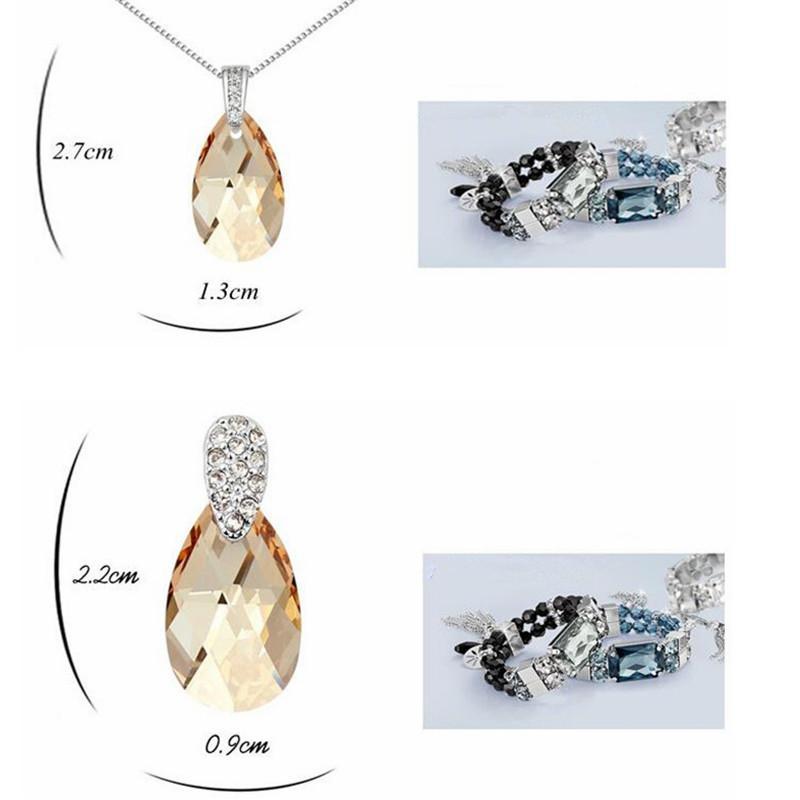 Austrian Crystal Necklace Earrings Water Drop Crystal From Swarovski Elements Women Jewelry Sets Fashion Bijouterie 13613 5814