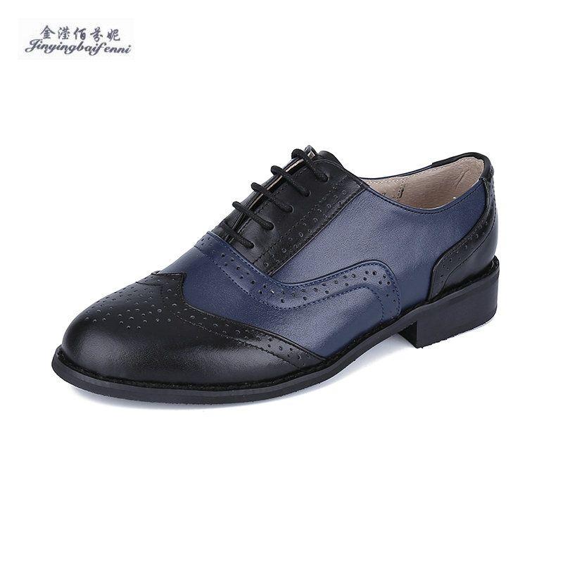 e2110b85e64c Size 32 47 New 2017 Vintage Black Blue Round Toe Leather Oxfords Shoe Womens  Ladies Lace Up Flat Platform Brogue Creepers Shoes Wedges Shoes White Shoes  ...