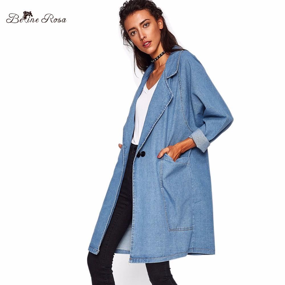 6b43dc48752 2019 BelineRosa Plus Size Women Clothing High Quality Denim Coats For Women  Autumn Big Turn Down Collar Loose Long Coat OST00033 From Fitzgerald10