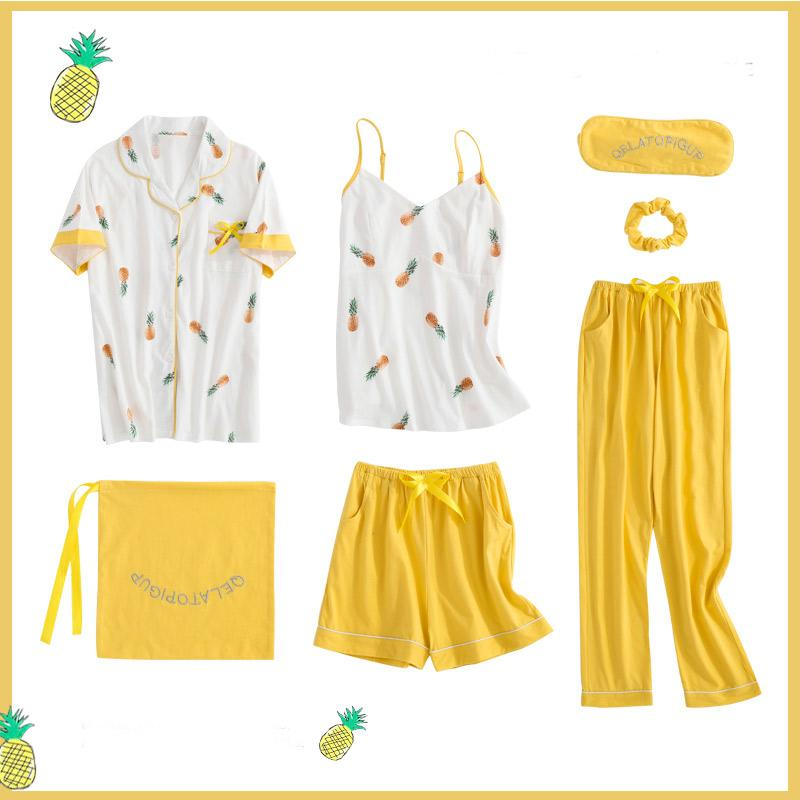 6d6c6de7b3 Women's 7 pieces pajamas sets fruit print satin silk lingerie homewear  sleepwear pyjamas set for woman Autumn Winter pijamas