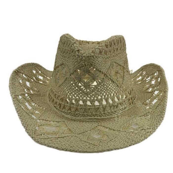 bf167013 Handmade Straw Sunhat Men Western Cowboy Summer Beach Cap Women ...