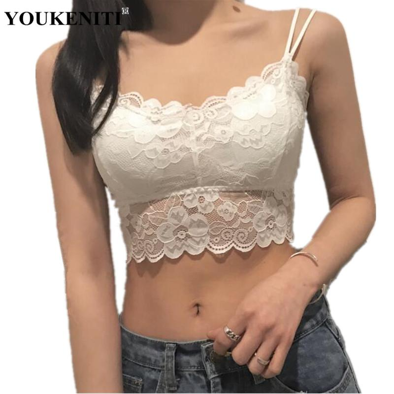 90316a8f48 2019 YOUKENITI Wire Free Chest Pad Detachable Comfortable Bra Push Up  Padded Sexy Lace Solid Women s Bras Double Shoulder Strap Bra From  Vanilla15
