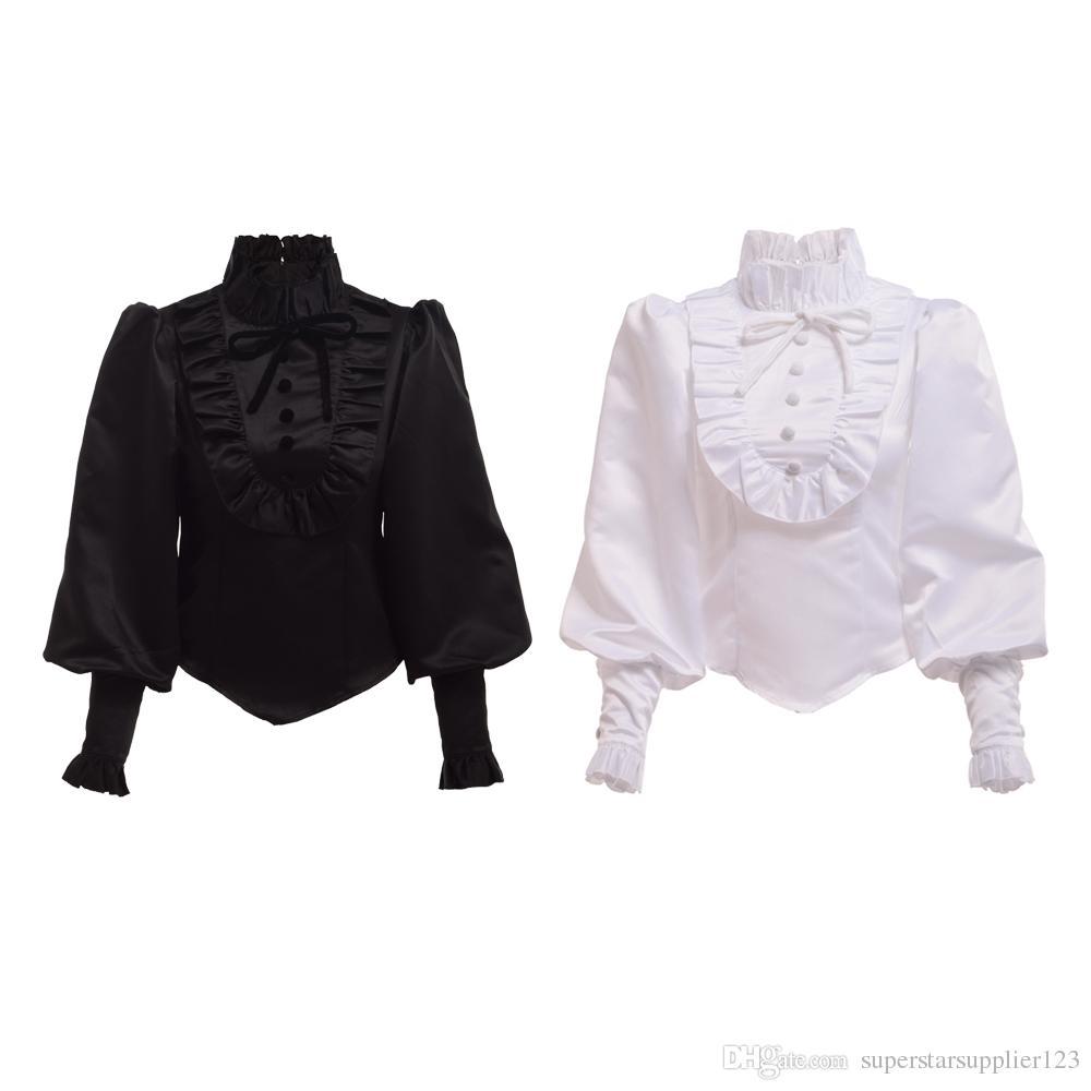 Compre Alta Calidad Vintage Victoriano Gótico Negro Blusa Estilo Lolita  Camisa Romántica Tops Ruffles Recreación Para Mujeres A  29.14 Del ... d6e48d4d73a02