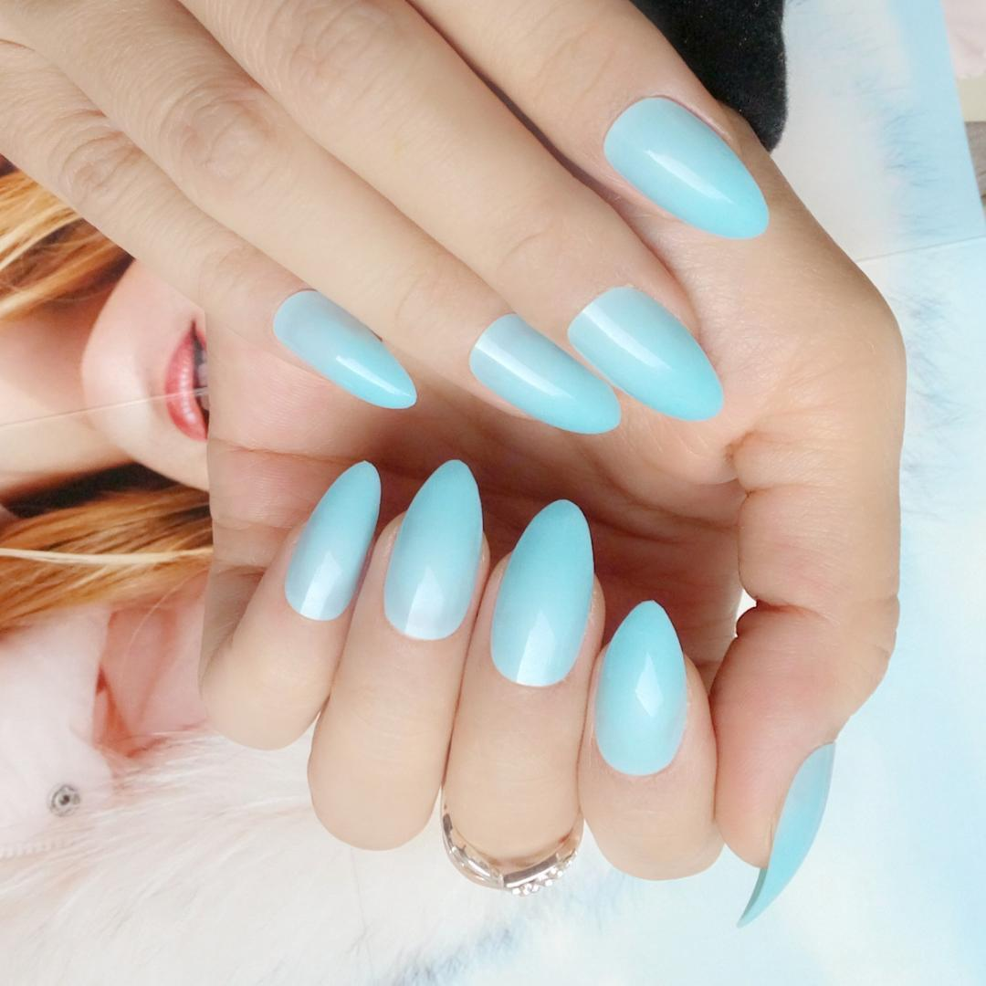 DIY Nail Art False Nails Sky Blue Acrylic Fake Nail Short Stiletto ...