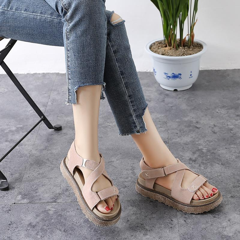 d08daa044bd 2018 Europe And America New Summer Rome Sandals Scrub Muffin Thick ...
