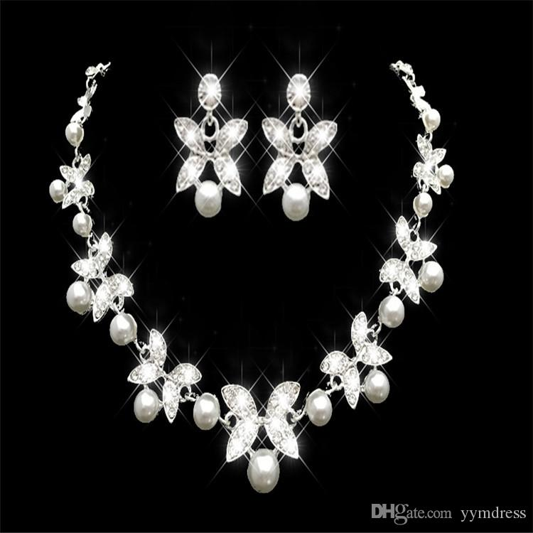 Cheap Rhinestone Faux Pearls Bridal Jewelry Sets Earrings Necklace Crystal Bridal Prom Party Pageant Girls Wedding Accessories In Stock