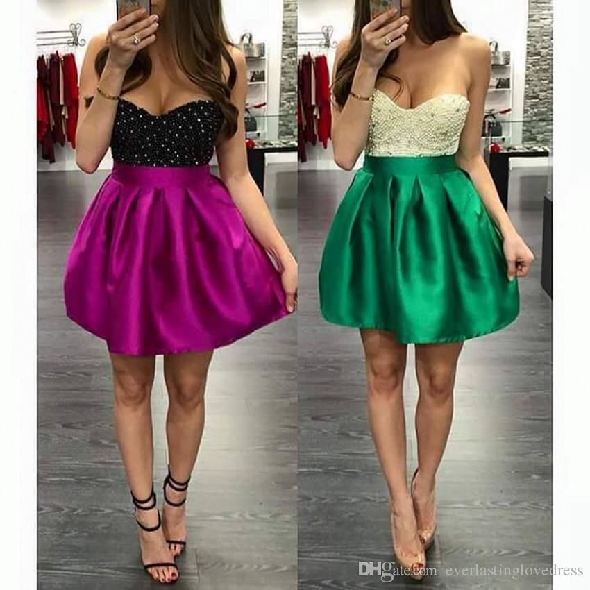 Querida Strapless Uma Linha Sexy Frisada Top Mini Curto Homecoming Vestidos Color Block Curto Prom Vestidos