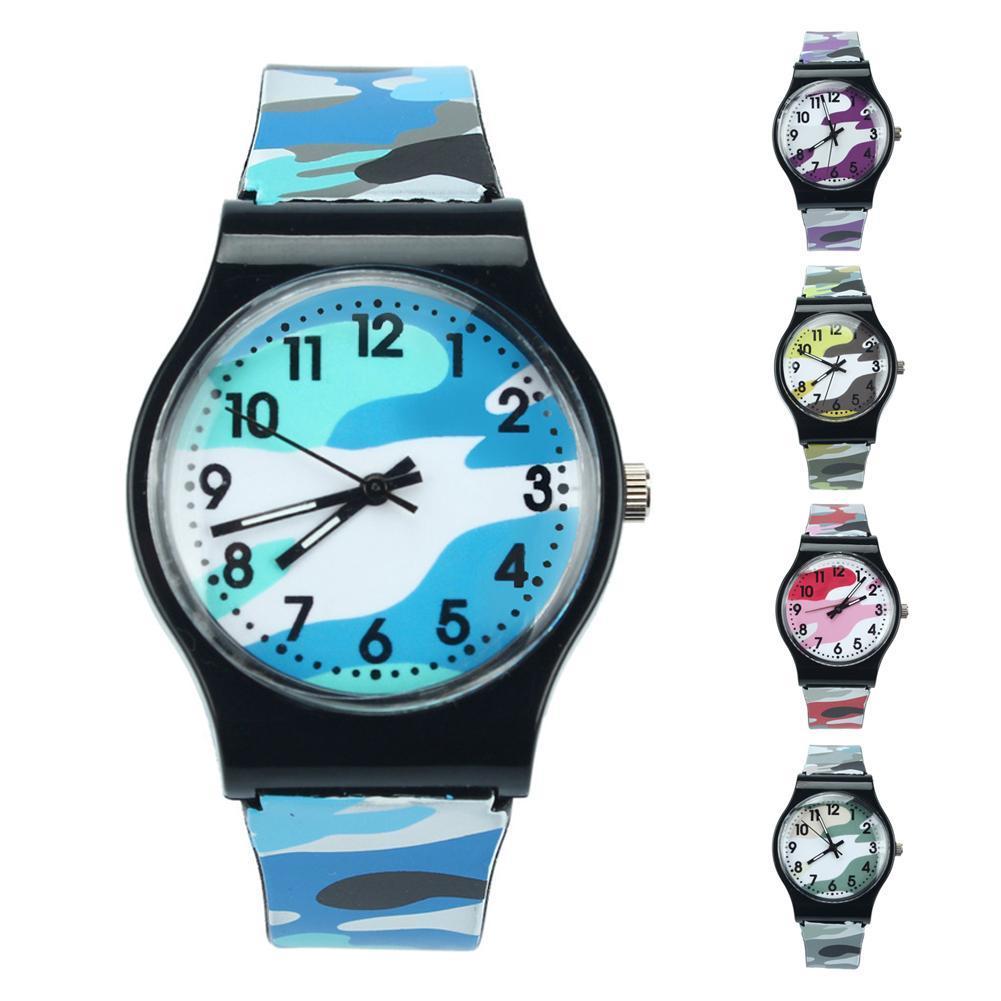 Acheter Femmes Montre Hommes Horloge Unisexe Camouflage Enfants Montre  Quartz En Plastique Montre Bracelet Garçon Filles Cadeau Rond Analogique  Trendy X4 De ... 68aef96f72e