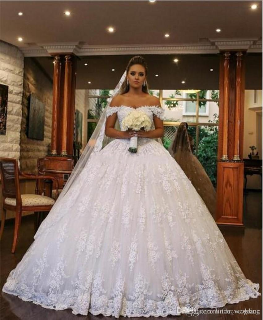 Acheter 2019 Princesse Robe De Mariage Africain Arabe Dubaï Hors Épaule  Pleine Dentelle Longue Église Formelle Mariée Robe De Mariée Plus La Taille  Custom