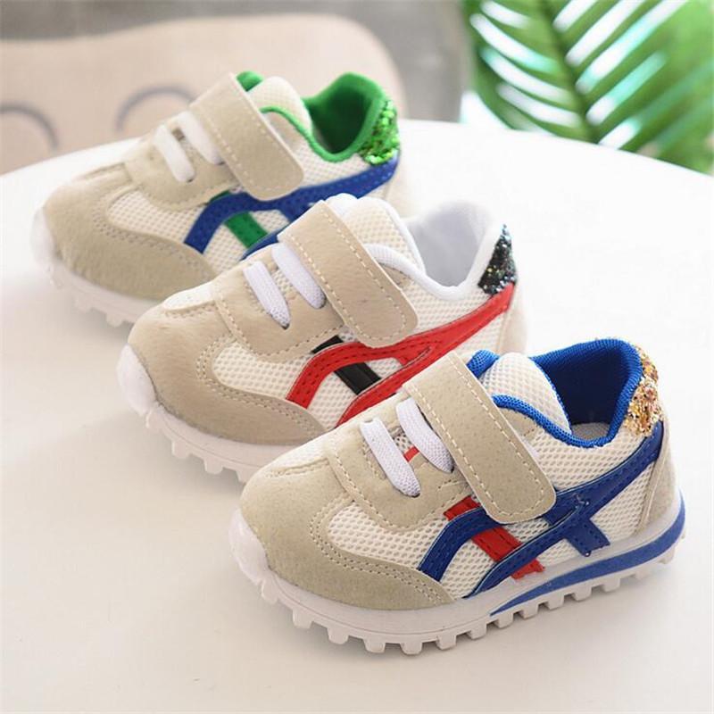 25% Frühling Herbst Baby Mädchen Jungen Freizeitschuhe Pachwork Mesh Kleinkind Schuhe zurück mit bling 3 Color 15 19 TX04