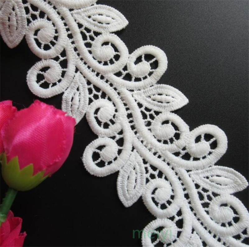 White Micro Fiber Flower Embroidered Fabric Lace Trim Ribbon Handmade DIY Sewing Supplies Craft For Costume Decoration 2 yards