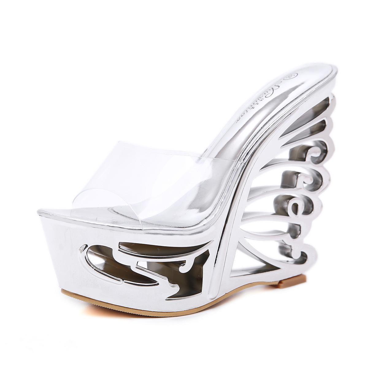Compre Sandalias De Las Mujeres Tacones Altos Zapatos De Verano Peep Toe  Slip On Sexy Vestido De Mujer Zapatillas Oro Plata Cuña Sandalias De  Plataforma A ... 10eb8a601d70