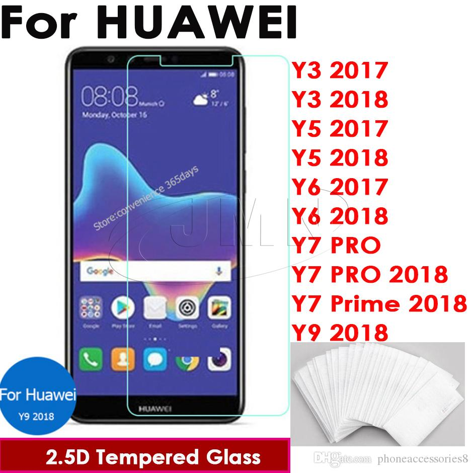Huawei Y9 2019 9H Tempered glass phone screen protector film for Huawei Y3  2017 Y3 2018 Y5 2017 Y6 Y6 2018 Y7 PRO Y7 PRO Y7 Prime