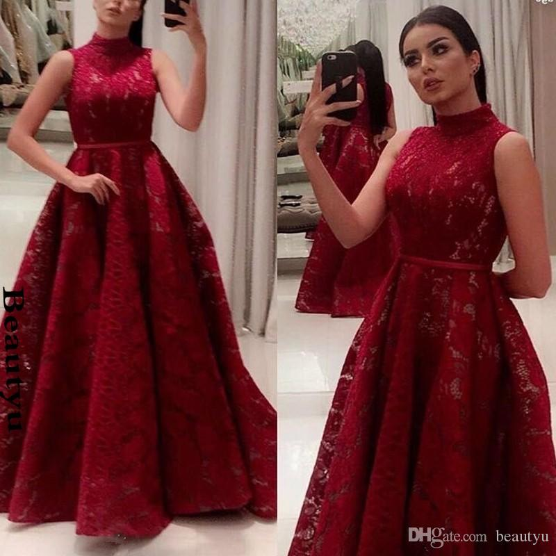 0d67155d2add Yousef Aljasmi Burgundy Lace Evening Gowns Plus Size A Line High ...