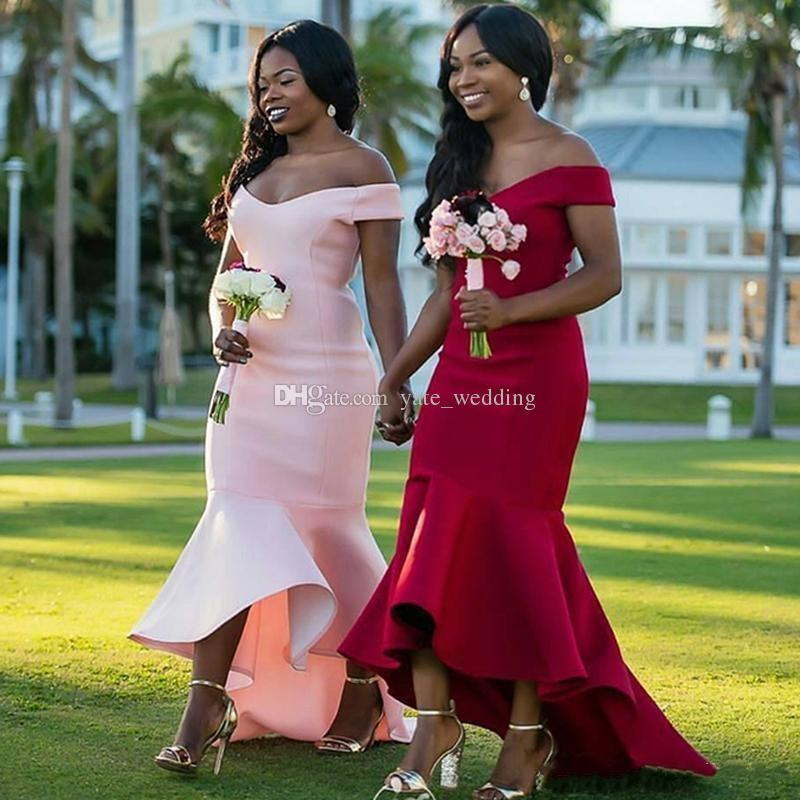 Off The Ramię Mermaid Druhna Sukienki Satin Customas Made Dark Red Pink African Maid of Honor Wedding Gość sukienki zamek błyskawiczny