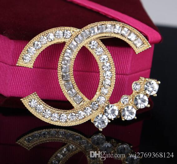 Luxury Double Layers Crystal Rhinestone Brooch Pins Brand Letters ... 8e1a2a574abc