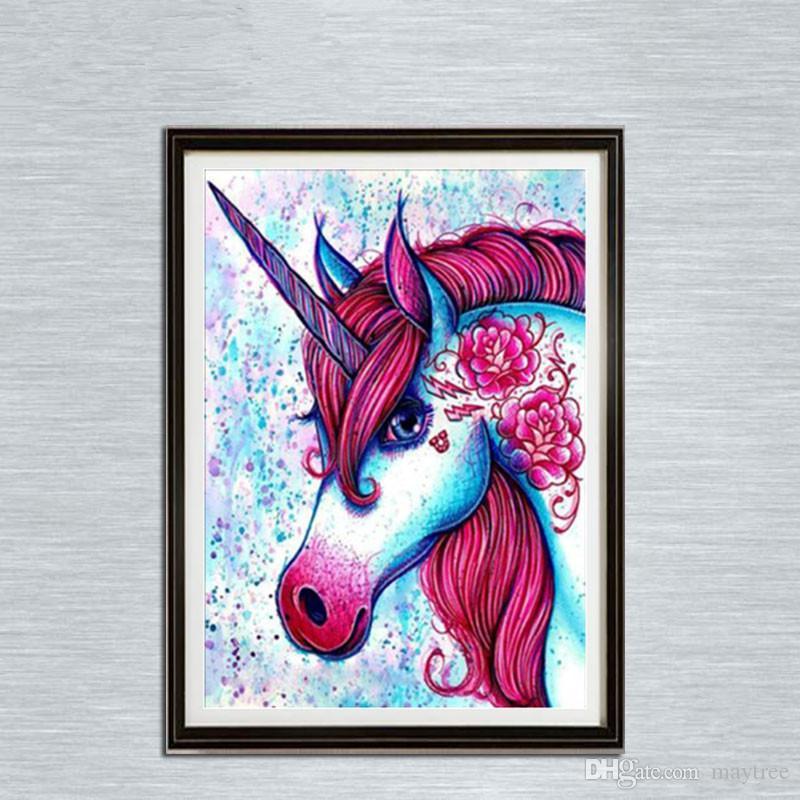 Satın Al Tam Matkap 5d Elmas Boyama Ev Için Bağbozumu Unicorn Sanat