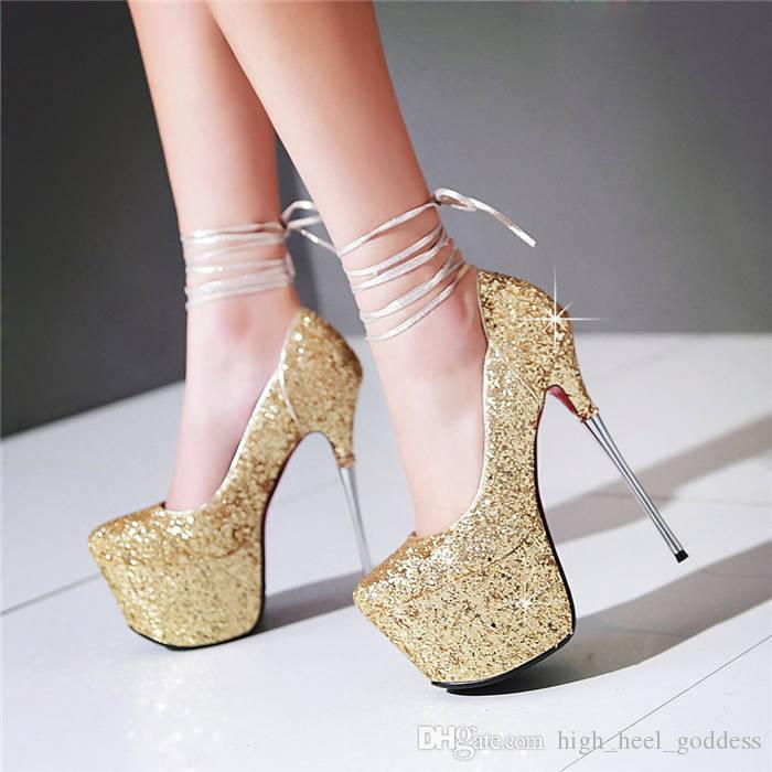 22a6c98f003 Glitter Sequined Cloth Woman Dress Shoes 16cm High Thin Steel Heel Stiletto  Sexy White Gold Wedding Party Club Lady Round Toe Platform Pumps Loafers  For Men ...