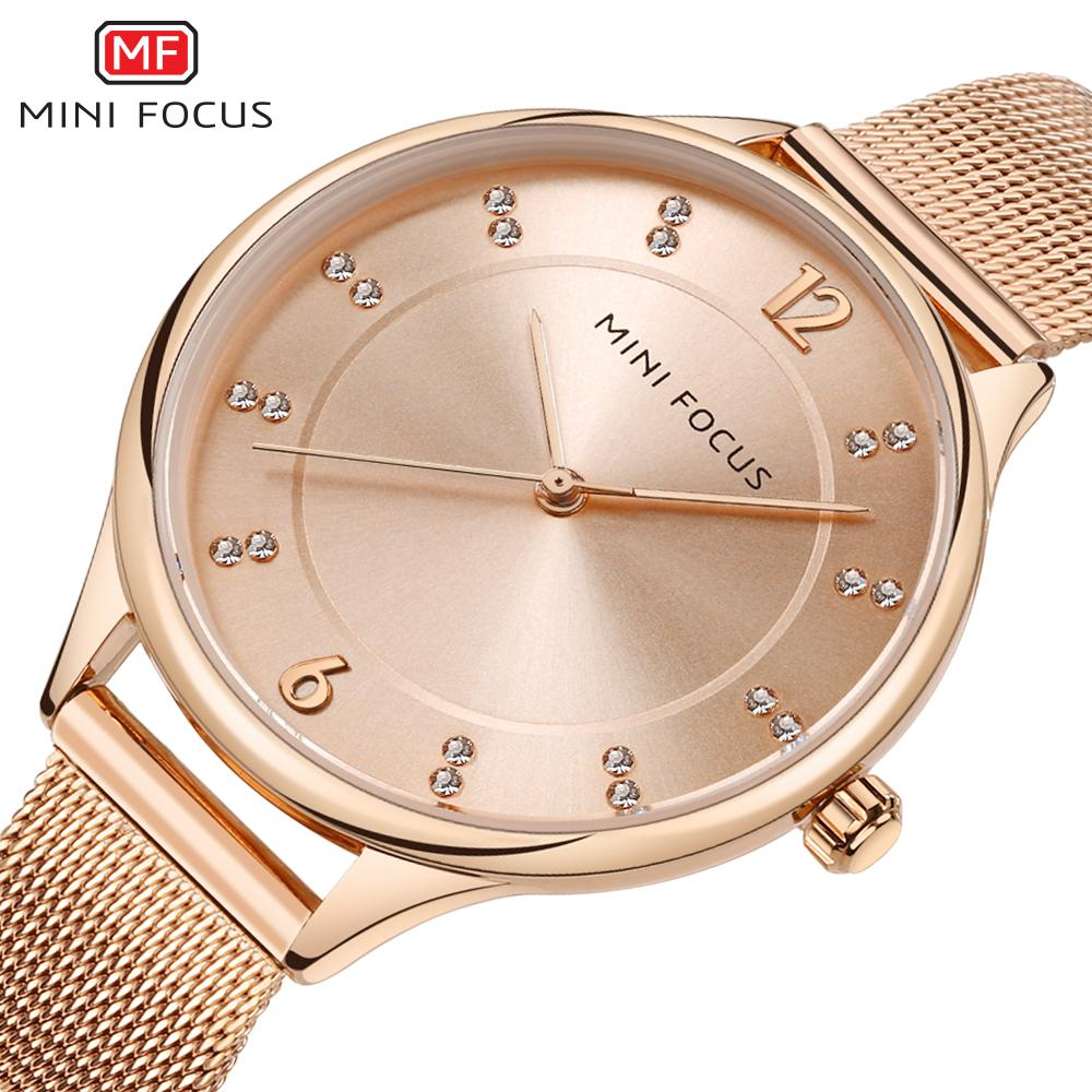 3e400acba9d8 Compre Minifocus Vestido Rhinestone Mujeres Relojes Pulsera De Lujo A  Prueba De Agua Señoras De Cuarzo Rosa De Oro Reloj De Acero Inoxidable  Montre ...