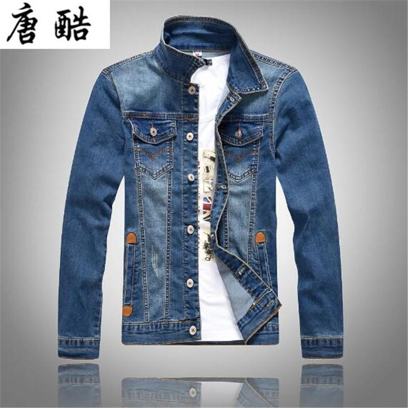 2018 the new Korean style jeans jacket men's slim long sleeves denim jacket fashion classic light blue motorcycle J08