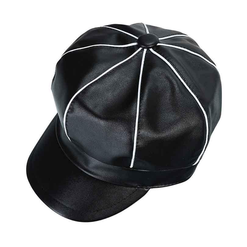 9082e5d9ee4 2018 Autumn Winter PU Leather Newsboy Cap For Women Vintage Octagonal Hat  Female Leather Berets Hats Hats For Women Trilby Hat From Playnice