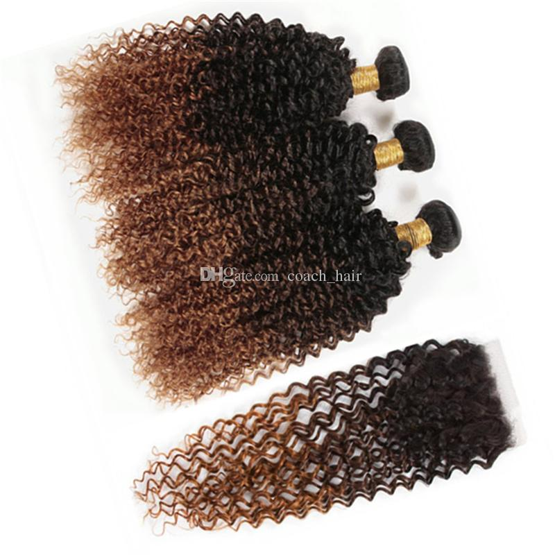 Brown Auburn Ombre Kinky Curly Lace Closure and Bundles 1B 4 30 Ombre Indian Human Hair Weave Extensions with Lace Closure