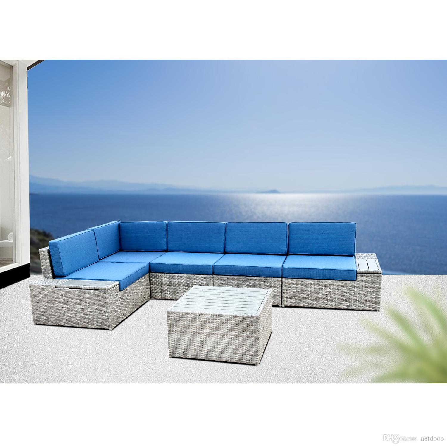 2018 Outdoor Furniture Outdoor Patio Furniture Sectional Sofa Grey Wicker  With Blue Cushions With Ice Can New Design From Netdooo, $1205.03    Dhgate.Com