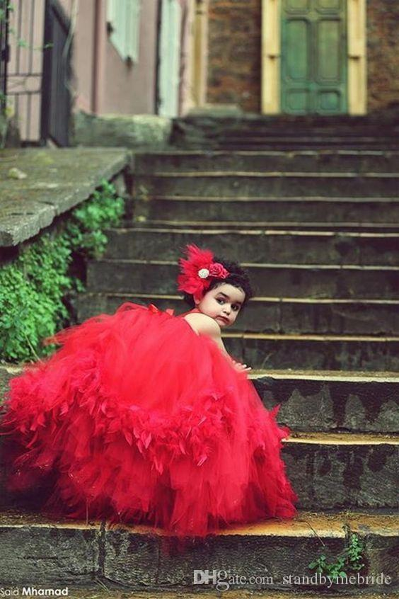 Princess Said Mhamad Red Tutu Flower Girls Dresses Ball Gown Girl Pageant Dress for Teens Little Baby Children Gowns 2018