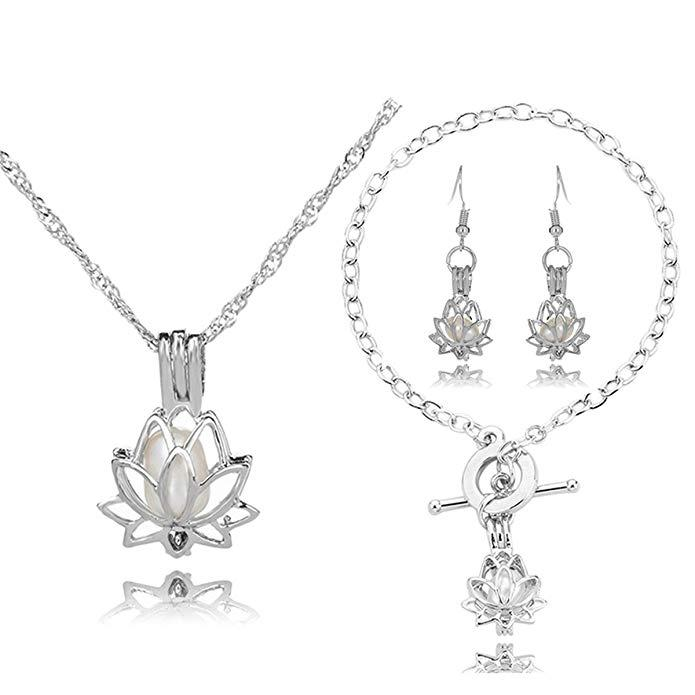783f853b2 HENGSHENG Arrow Locket Cage Jewelry Set Pearl Oyster Pendant with ...