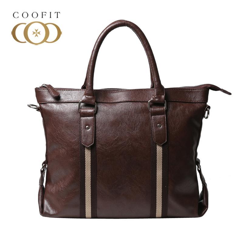 d96990f64294 Coofit Men S Fashion Leather Briefcase Canvas Patchwork Designer Handbag  Male Business Crossbody Messenger Bag For Tablet Bolsa Fashion Handbags  Large ...