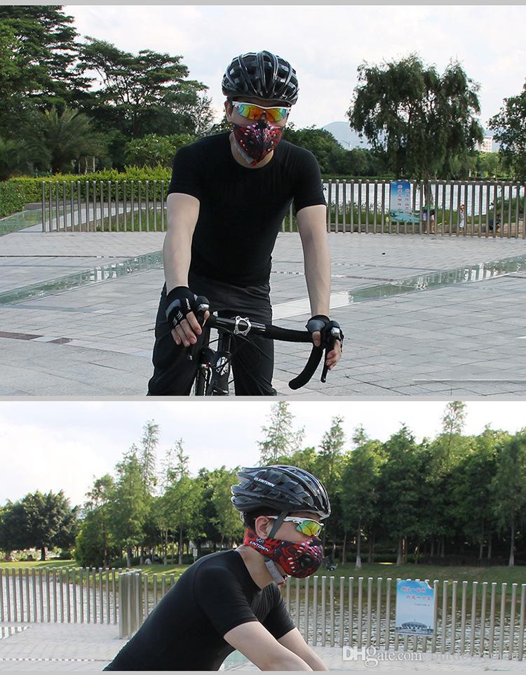 Anti-pollution Activated carbone vélo Masque VTT Vélo de route Vélo demi-visage Masque antipoussière Cyclisme Équitation Courir Sport Masque
