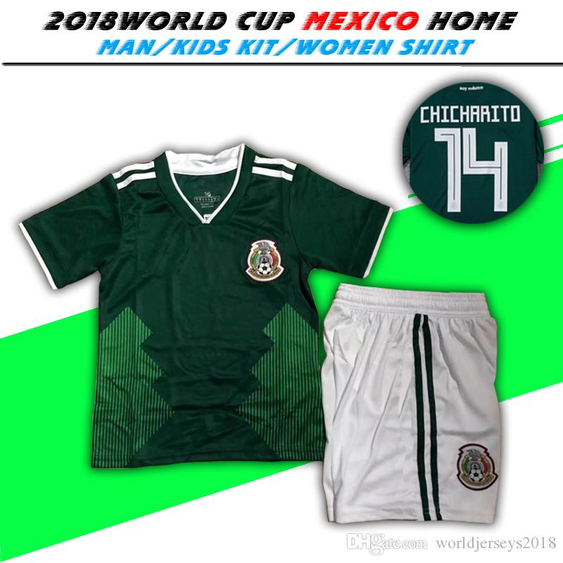ea62088b8 2018 Mexico home green Kids Kit Soccer Jersey Mexico soccer 2018 world cup  boys Football Children uniforms sports  8 H.LOZANO  14 CHICHARIT