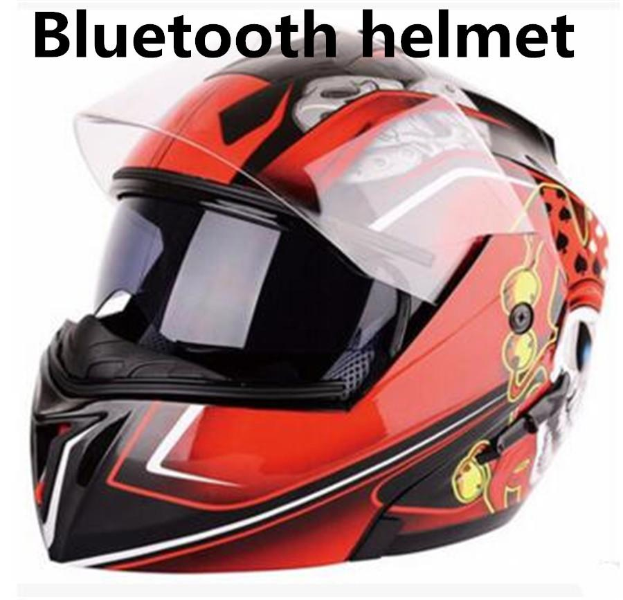 Full Face Helmet With Flag Graphic Bluetooth Modular Motorcycle