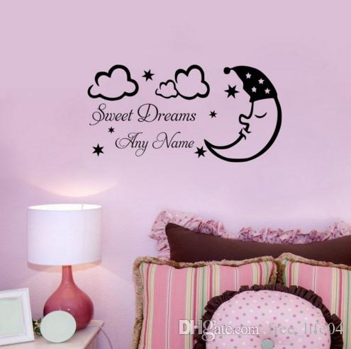 Sleeping Moon Star Cloud Sweet Dream Personalized Name Wall Sticker Vinyl  Art Diy Baby Bedroom Decor Decorative Wall Decals Removable Decorative Wall  ...